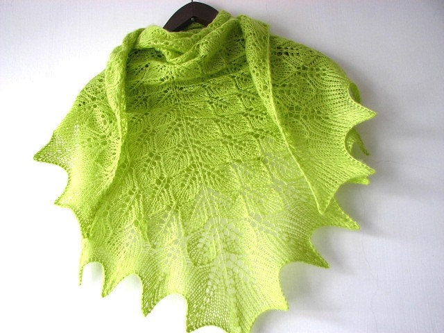Spring Tree - hand knitted shawl - sweetflowers
