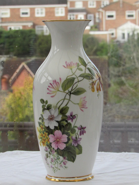 Royal Grafton Fine Bone China Vase with Honeysuckle Design Vintage Bone China Vase Large Vase Floral Bone China Vase