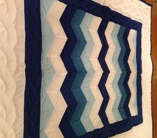 Amish Hand Sewn Baby Boy Crib Quilt In Zigzag By Amishbaskets