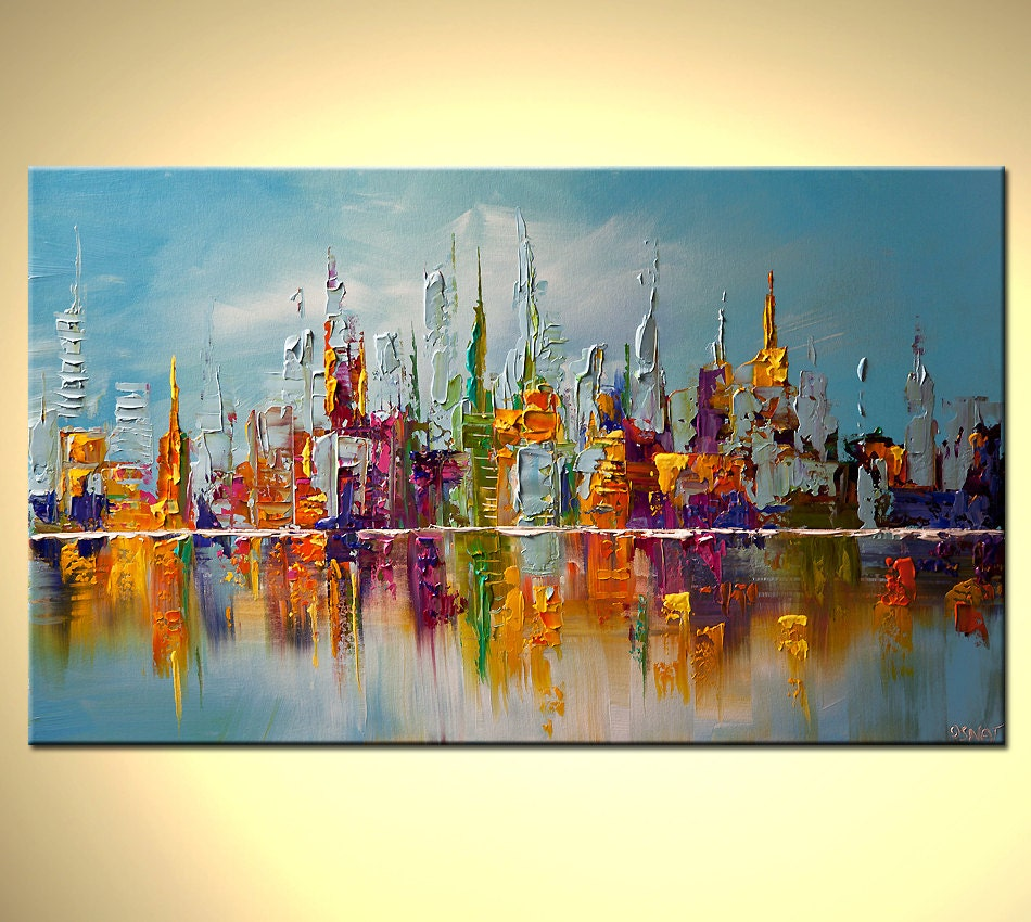 Modern palette knife abstract city painting nyc by for What paint for canvas