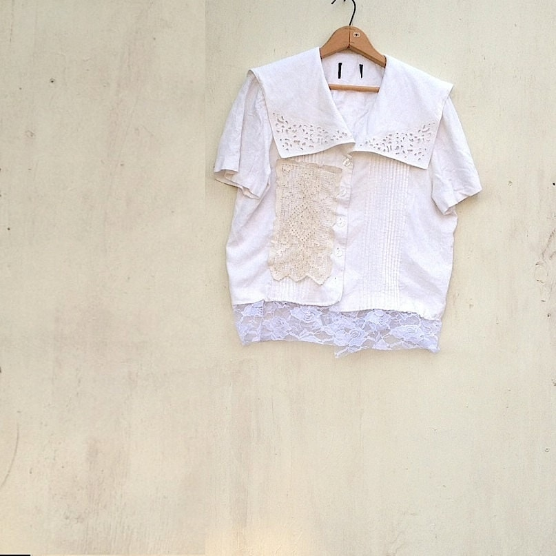 SALE Spring ecru  linen battenburg lace ivory natural eco upcycled romantic romance vintage lace shirt blouse - kateblossom