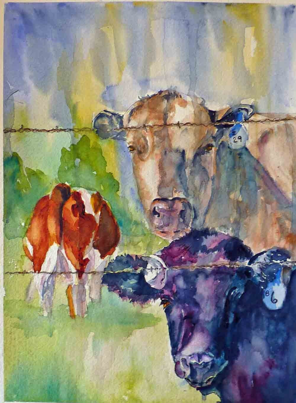 Items similar to cow bingo watercolor art print on etsy for Cow painting print