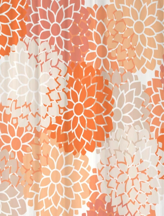 Shower Curtain in Peach Paradise Floral Standard and Extra Long ...