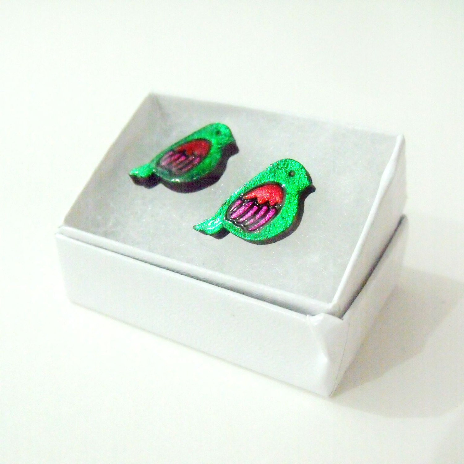 tiny love birds for your ears  emerald green stud earrings