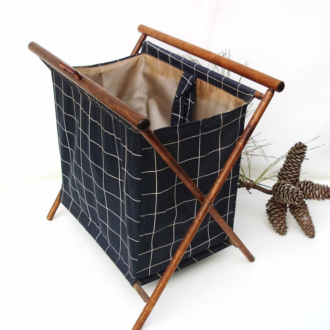 Knitting Basket With Handles : Vintage folding sewing basket knitting project bag by