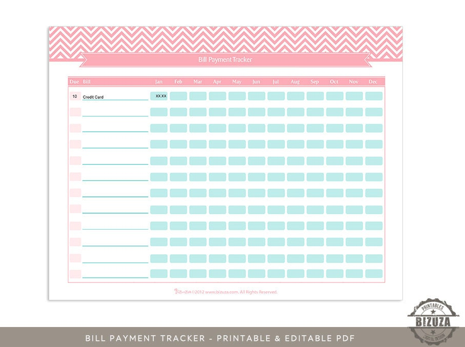bill payment tracker checklist printable and editable by bizuza. Black Bedroom Furniture Sets. Home Design Ideas