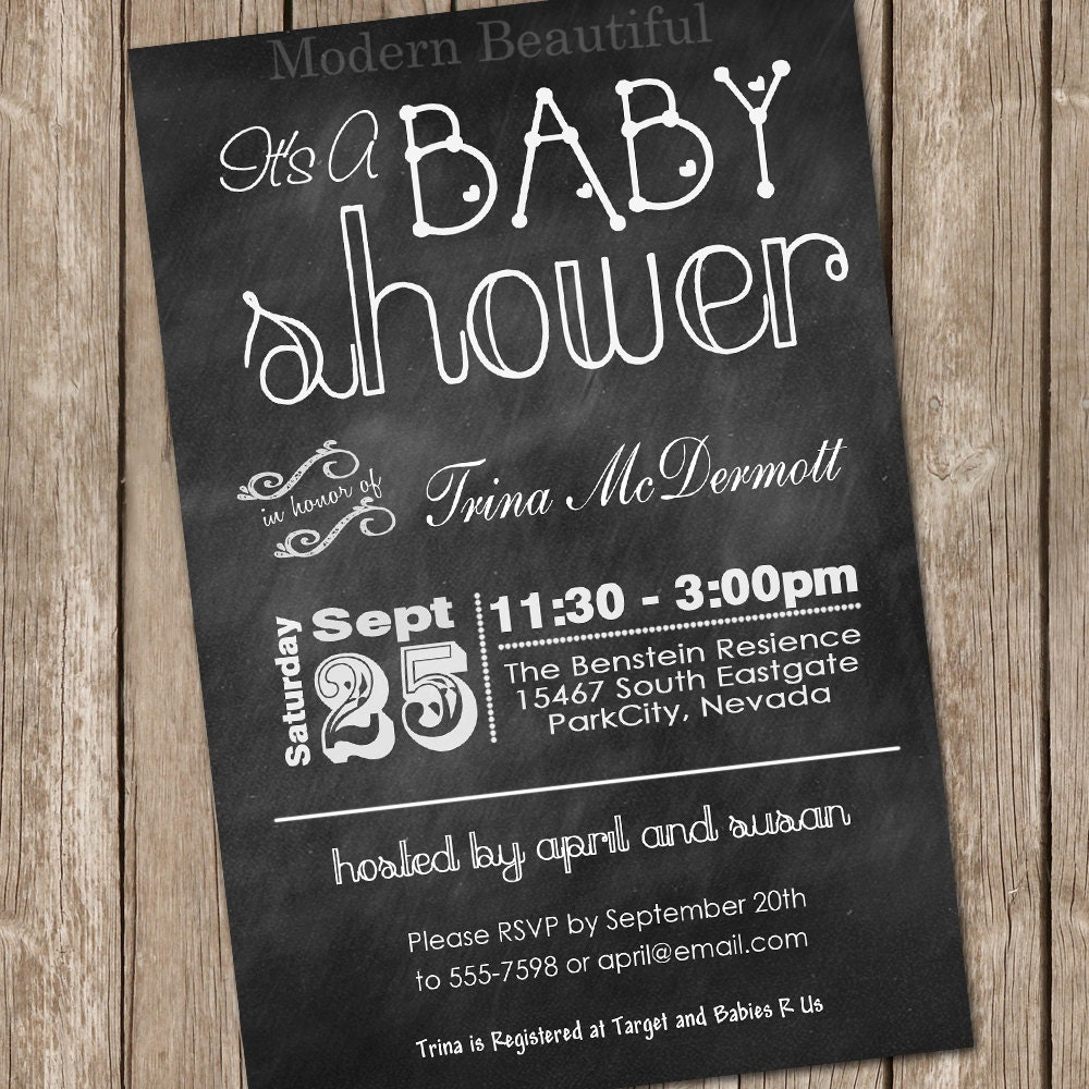chalkboard baby shower invitation chalkboard by modernbeautiful