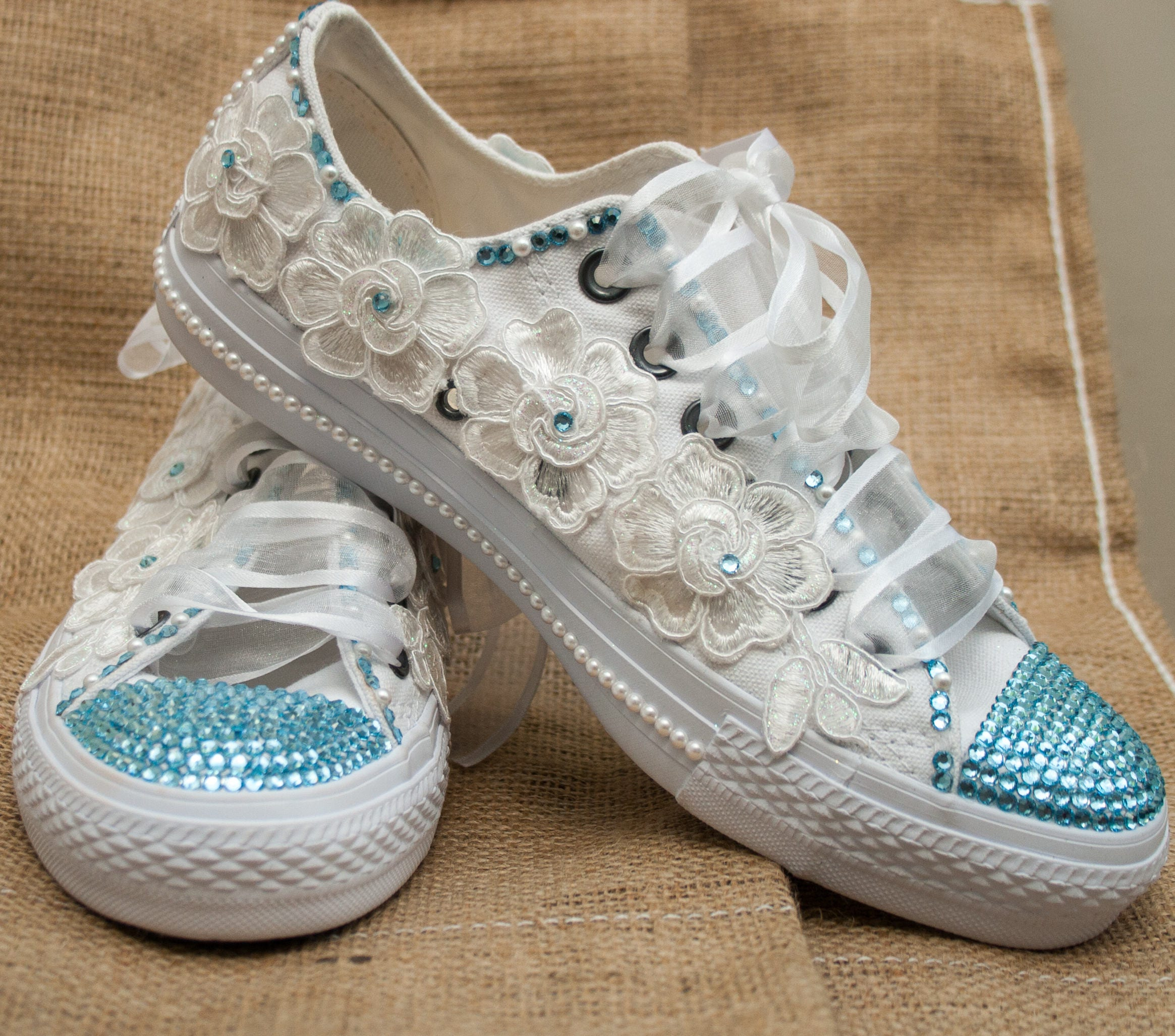 Customized wedding converse trainers with  crystals lace  pearls. Wedding trainers wedding converse bridal Converse with blue crystals