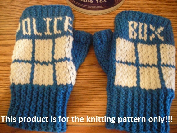 Dr Who Knitting Pattern : Knitting Pattern: Doctor Who Tardis Fingerless Gloves by DuckyDame