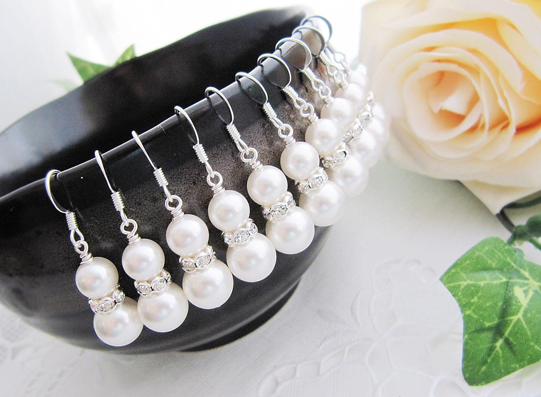 Set of 4 Bridal Earrings Bridesmaid Earrings Crystal White Swarovski Pearls with rhinestone rondelles - Sterling Silver  - Choose color