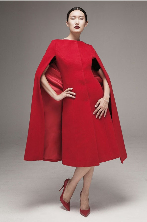 Christmas red round neck cape women coat dress empire waist coat