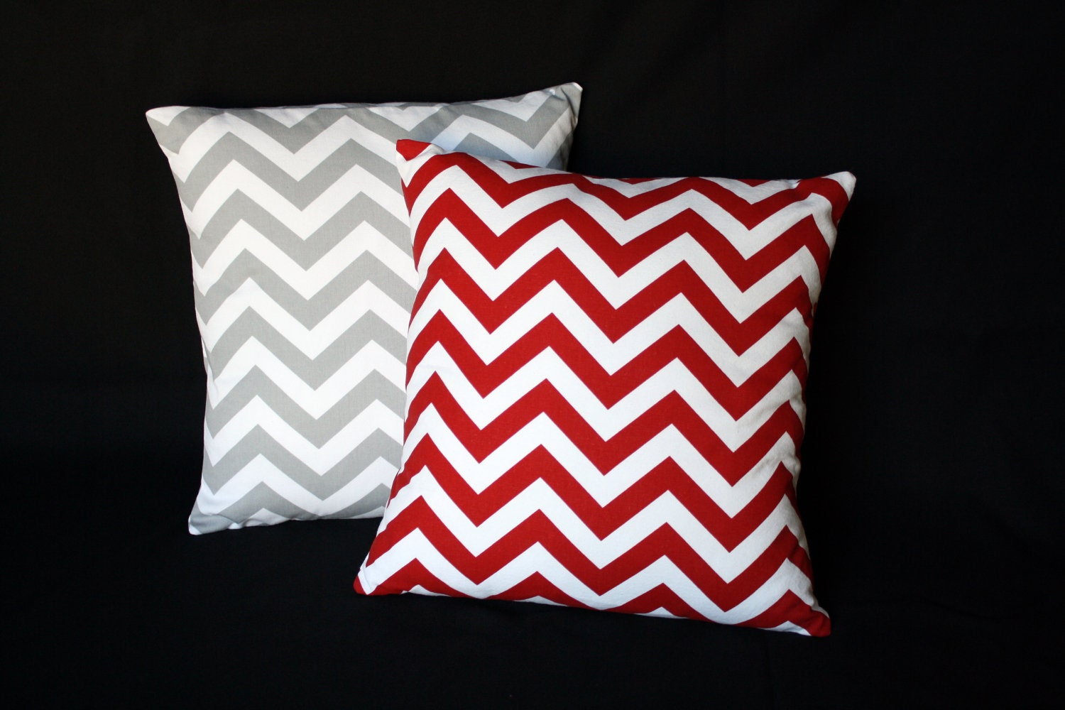 16 in. Red Chevron Throw Pillow Cover