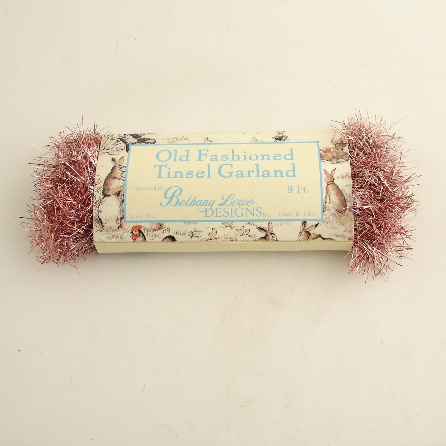 Pink tinsel garland vintage style christmas by efinegifts