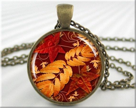 Autumn Necklace Pendant Art Pendant Autumn Jewelry Fall Leaves Necklace Picture Pendant (068RB) - MGArtisanPendants