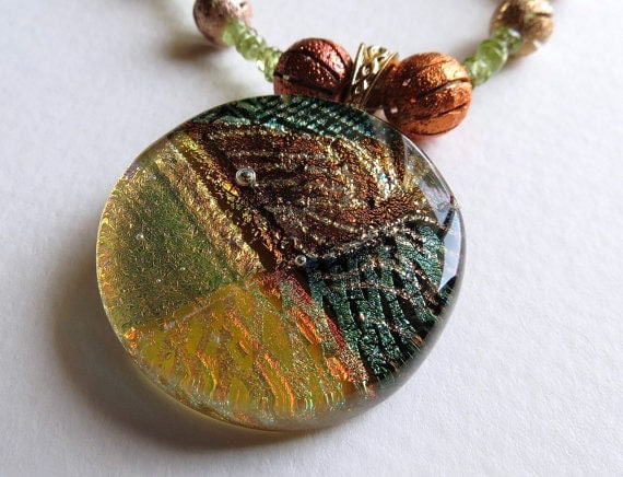Fused Glass Pendant, Necklace and Earring Set, Peridot and Copper beads, Jewelry, SRAJD - Smokeylady54