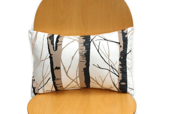 Pillows silver birch black brown cream 12 x 18 inch lumber bolster cushion cover throw pillow covers cases shams UK designer fabric - VeeDubz