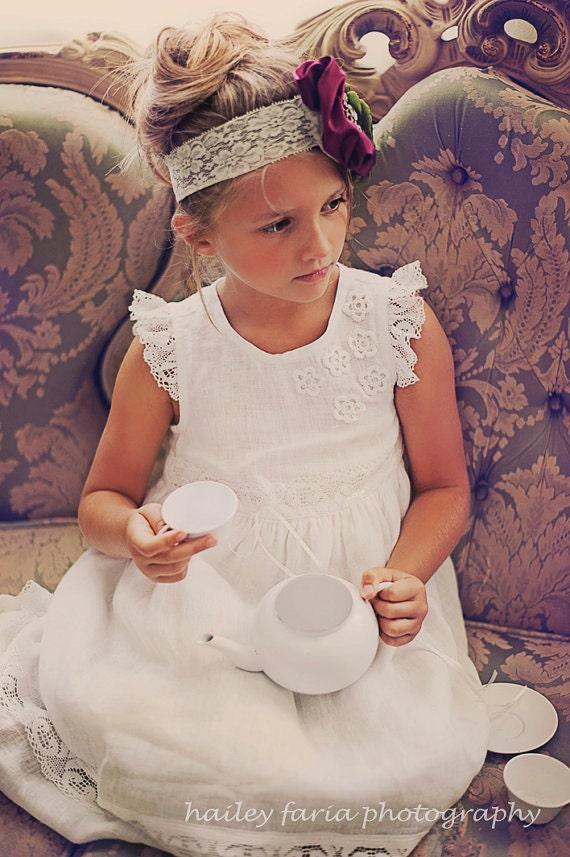 White Flower girl dress Linen dress