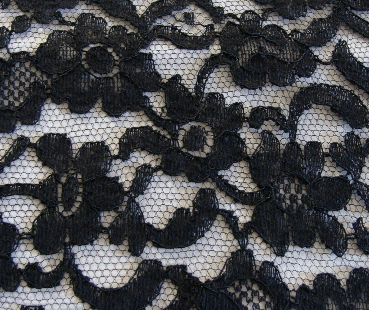 Sale vintage black embroidered net lace fabric by