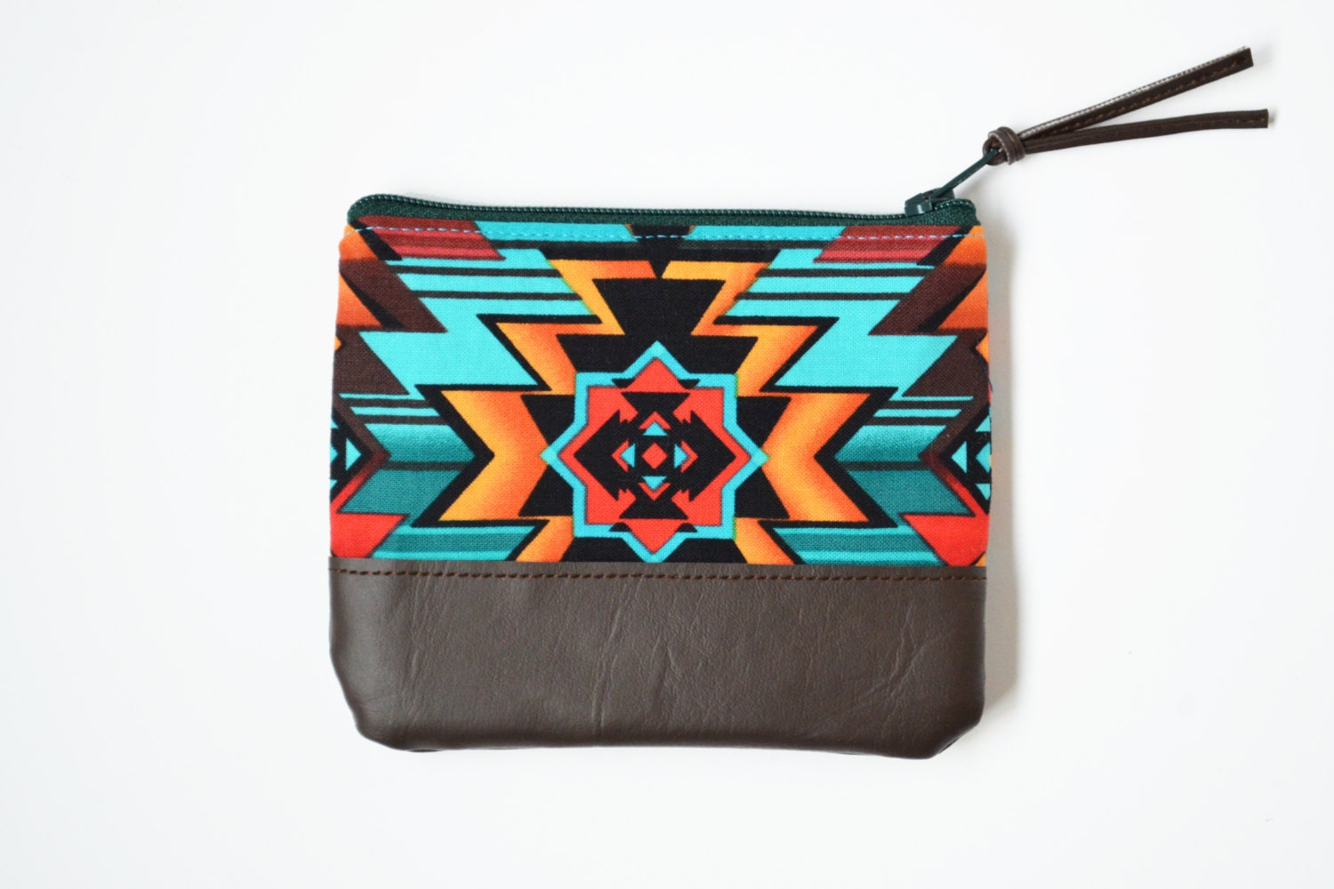 Coin Purse - Tribal Inspiration, Card Pouch with Leather Trim Accent, Leather Coin Purse - sewandtellhandmade