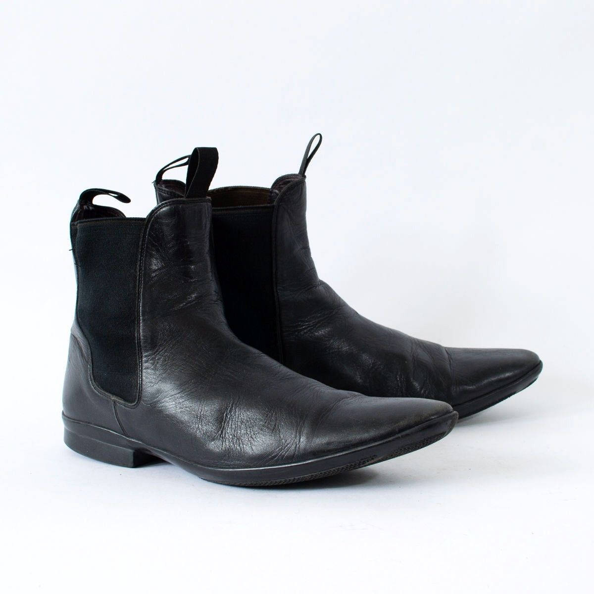 Vintage Black Real Leather Chelsea Boots Festival Mens UK 8 EU 42 US 9