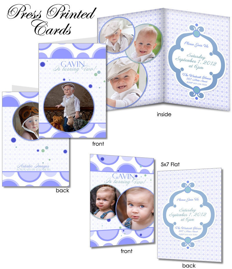 Birthday Invitation Templates - BUBBLE GUM BLUE - 5x7 Flat & Folded ...