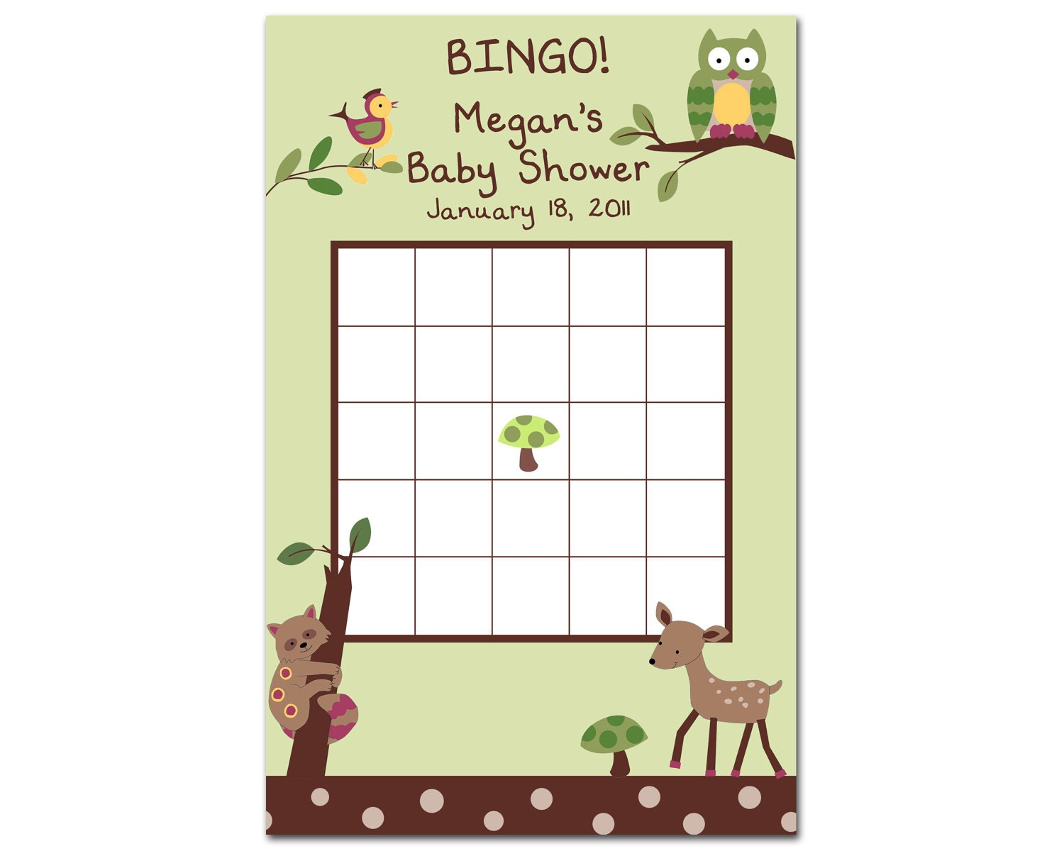 Printable Enchanted Forest Baby Shower BINGO Game by BDesigns4You