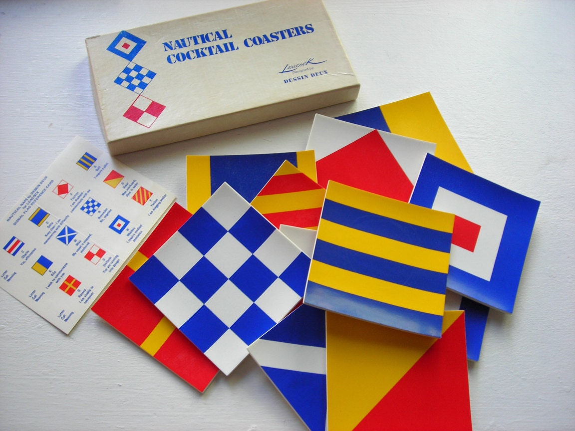 Nautical flag coasters signal flag home by - Flag decorations for home ...