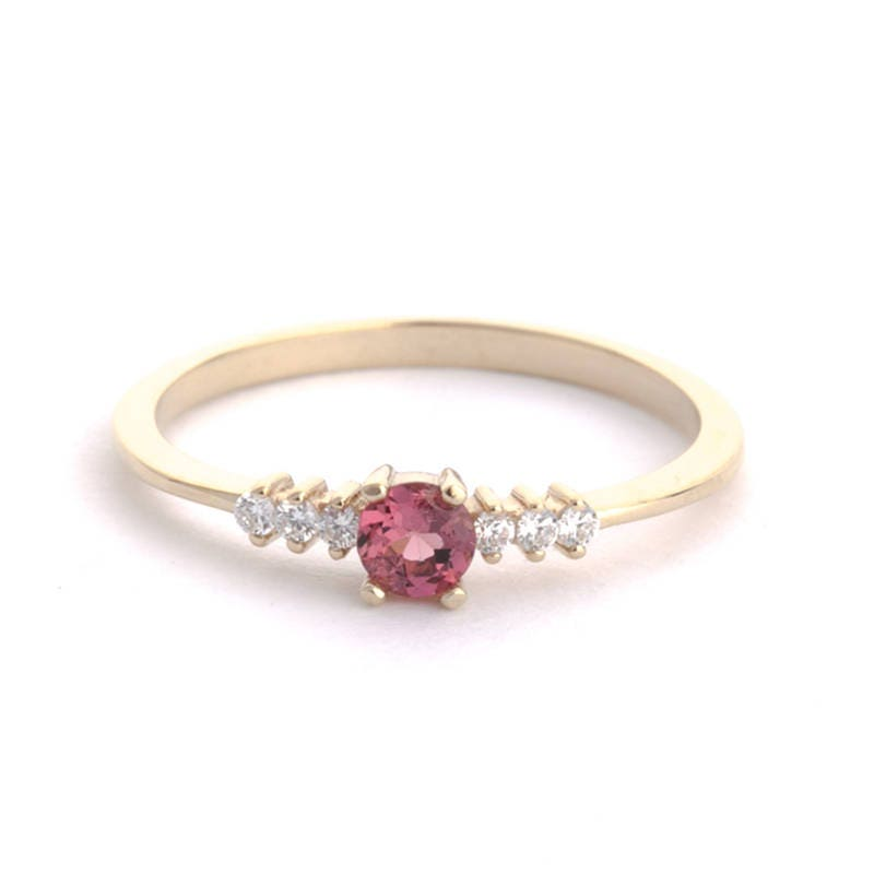Cluster Engagement Ring Pink Sapphire ring 18k Gold Dainty Engagement Ring Pink Engagement Ring Asymmetric Ring Pink Sapphire Ring