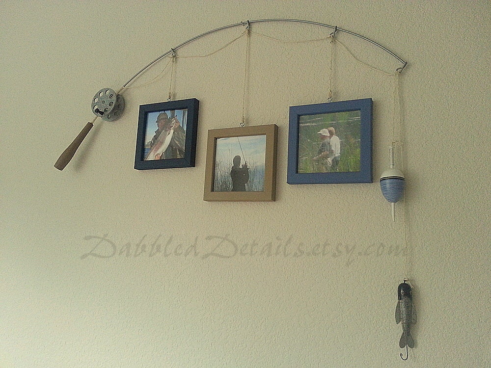 Fishing pole picture frame metal silver 3 by dabbleddetails for Fishing picture frame