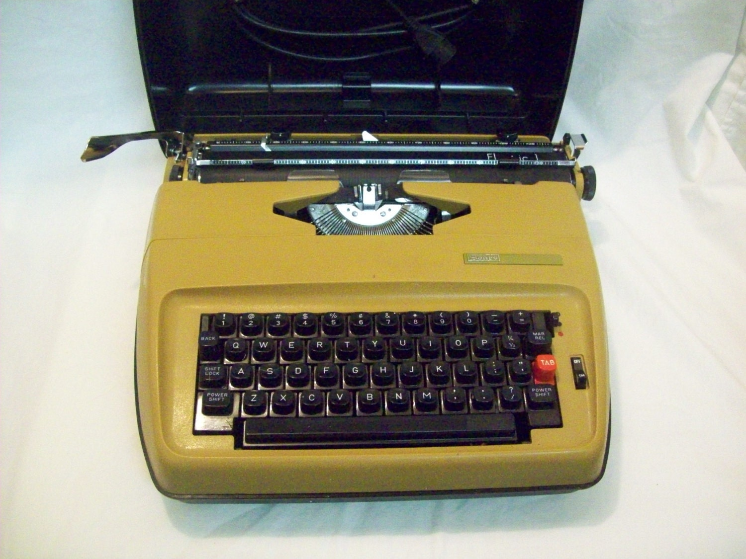 Vintage Sears Electric Typewriter Mustard by theartfulcodger