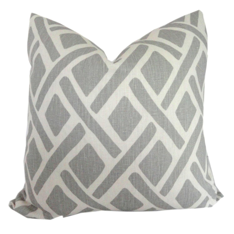 Kravet Gray Trellis Decorative Pillow Cover Throw by PopOColor