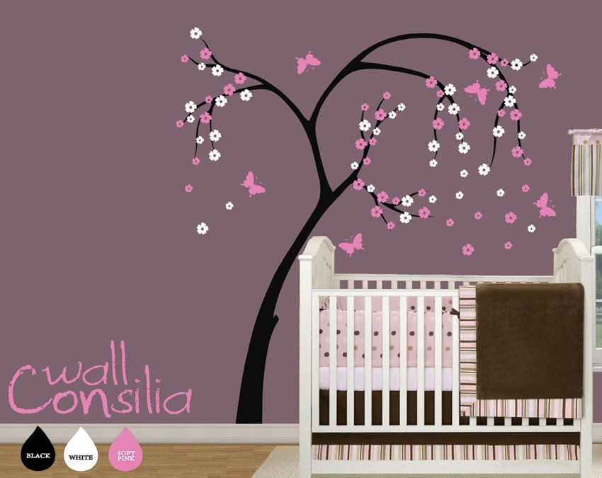 Custom designed large cherry blossom tree wall decal this wall decal - Items Similar To Baby Nursery Tree Wall Decal Blossom