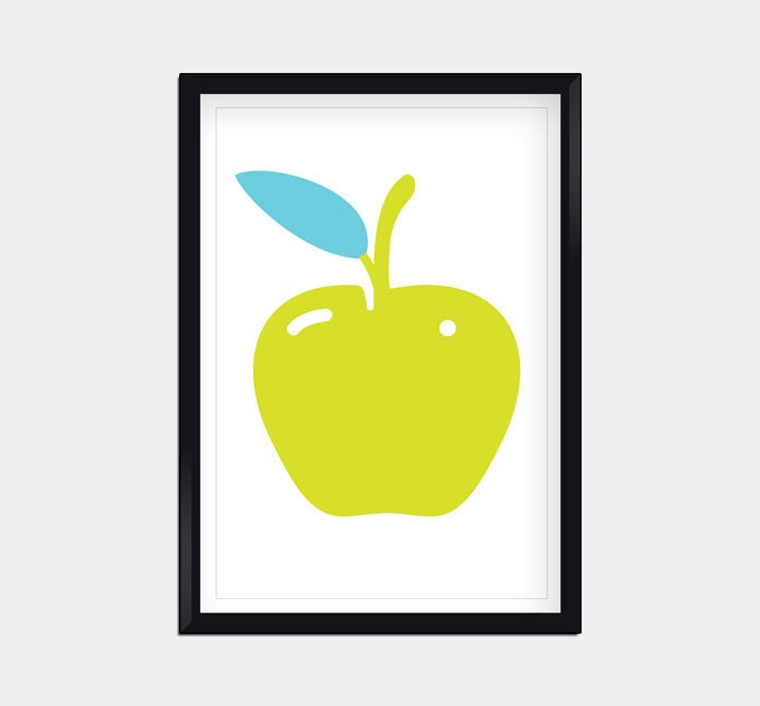 Modern apple home decor wall art by moderngenes on etsy for Apple home decoration