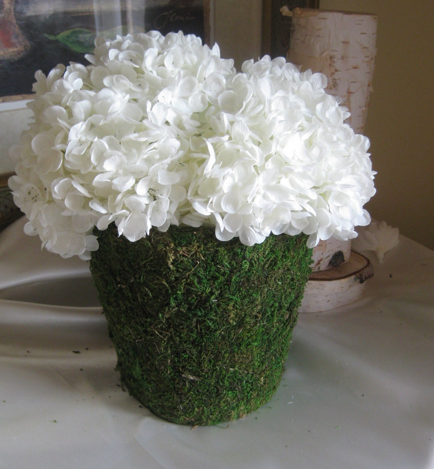 Items similar to wedding centerpiece moss vase with