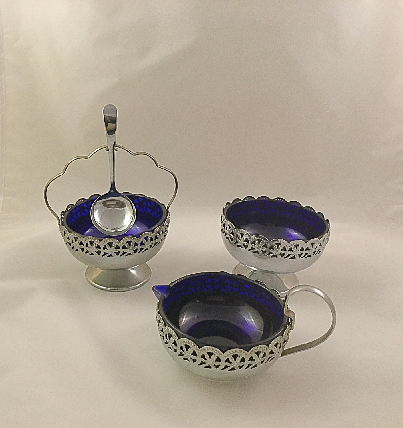 Vintage Cobalt Blue Glass Breakfast SetVintage milksugar and preserve jar.