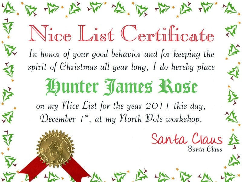 Personalized Santa Claus Nice List Certificate with North Pole ...