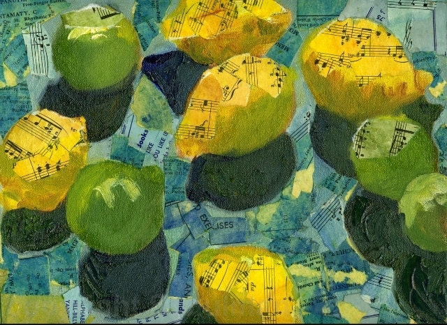 ART for kitchen, Mixed Media Collage Print  lemon yellow and green limes on turquoise background