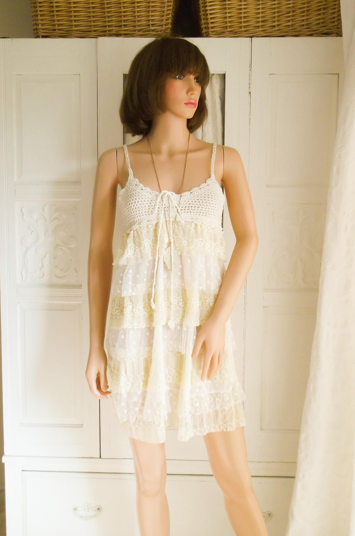 Unworn Cream lace dress Mini Dress Summer Boho dress Festival Summer Boho Wedding dress Cream lace mini Cream Cotton crochet lace dress