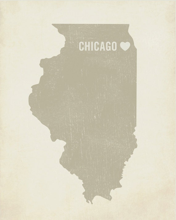 I Love Chicago 8x10 Art Print - Illinois City State Heart
