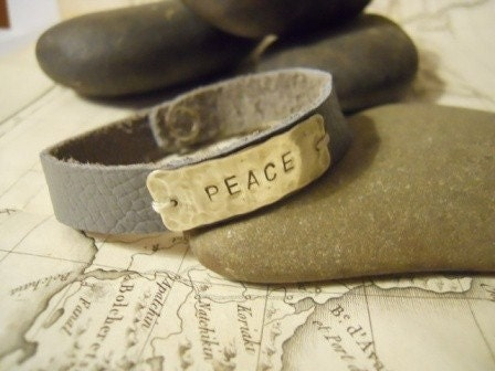 Sterling Silver 'PEACE' Stamped Quote Leather Snap Bracelet