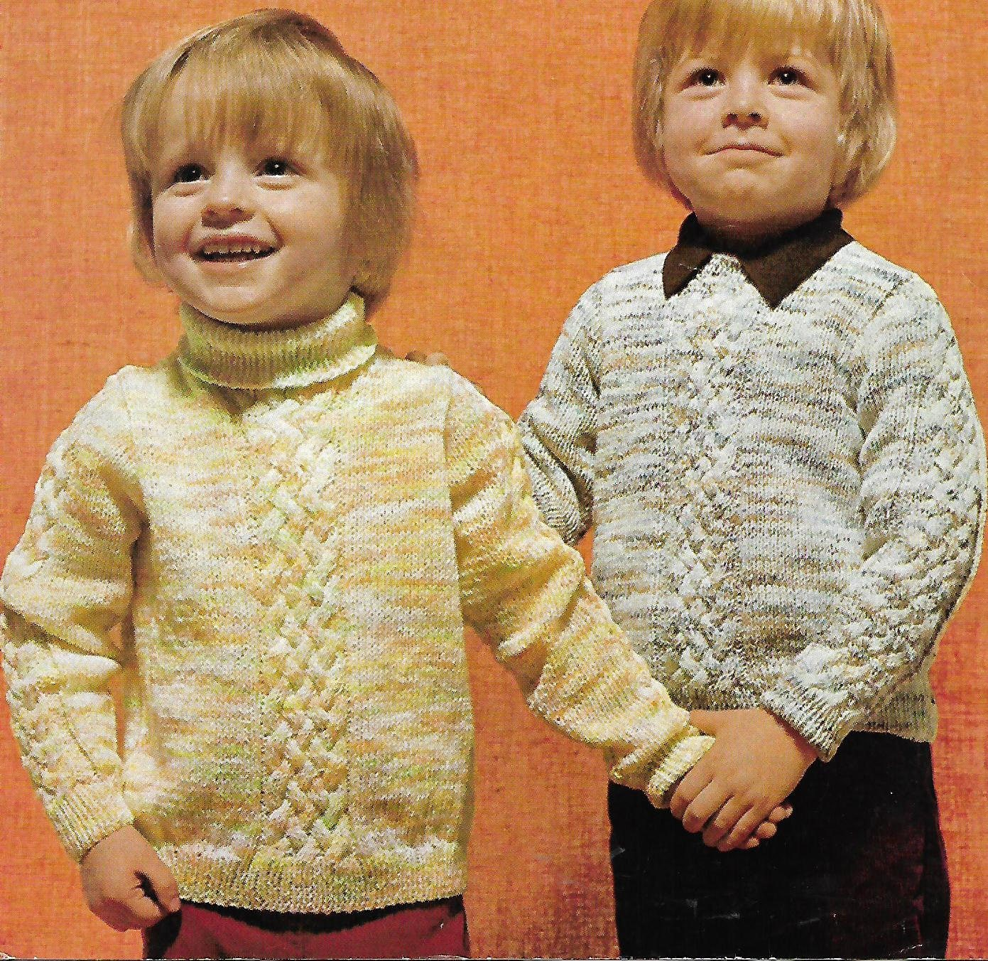 knitting pattern boys polo and round sweater jumper ages  24 years double knitting pdf instant download