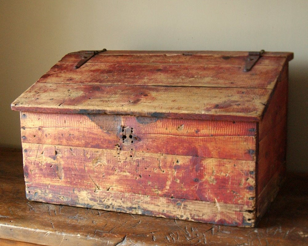 Primitive Red Stained Painted Document Box Storage Trunk Bench