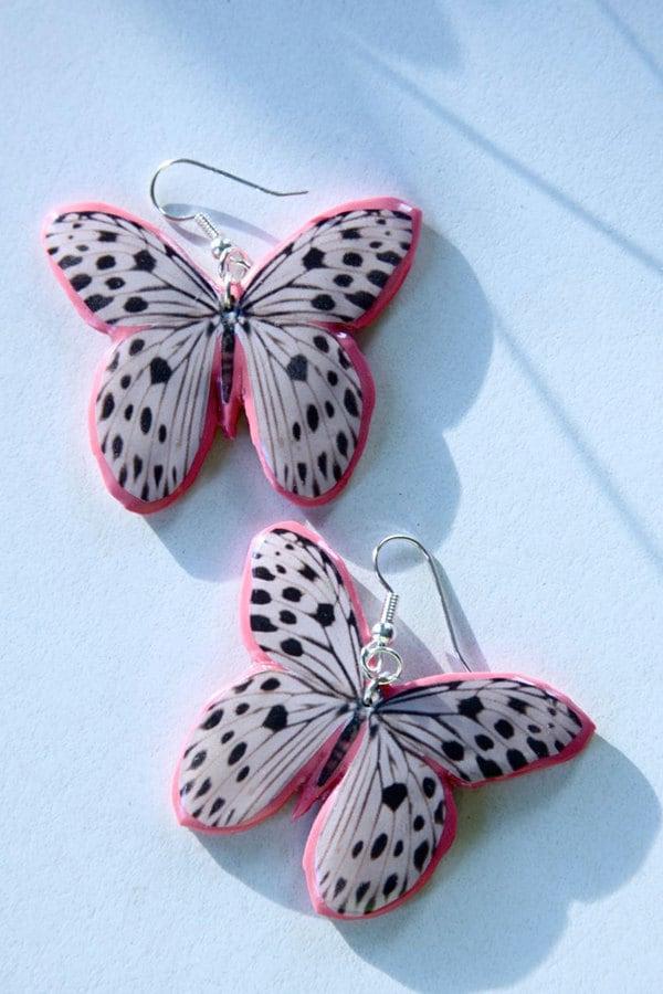 Dalmatian butterfly earrings