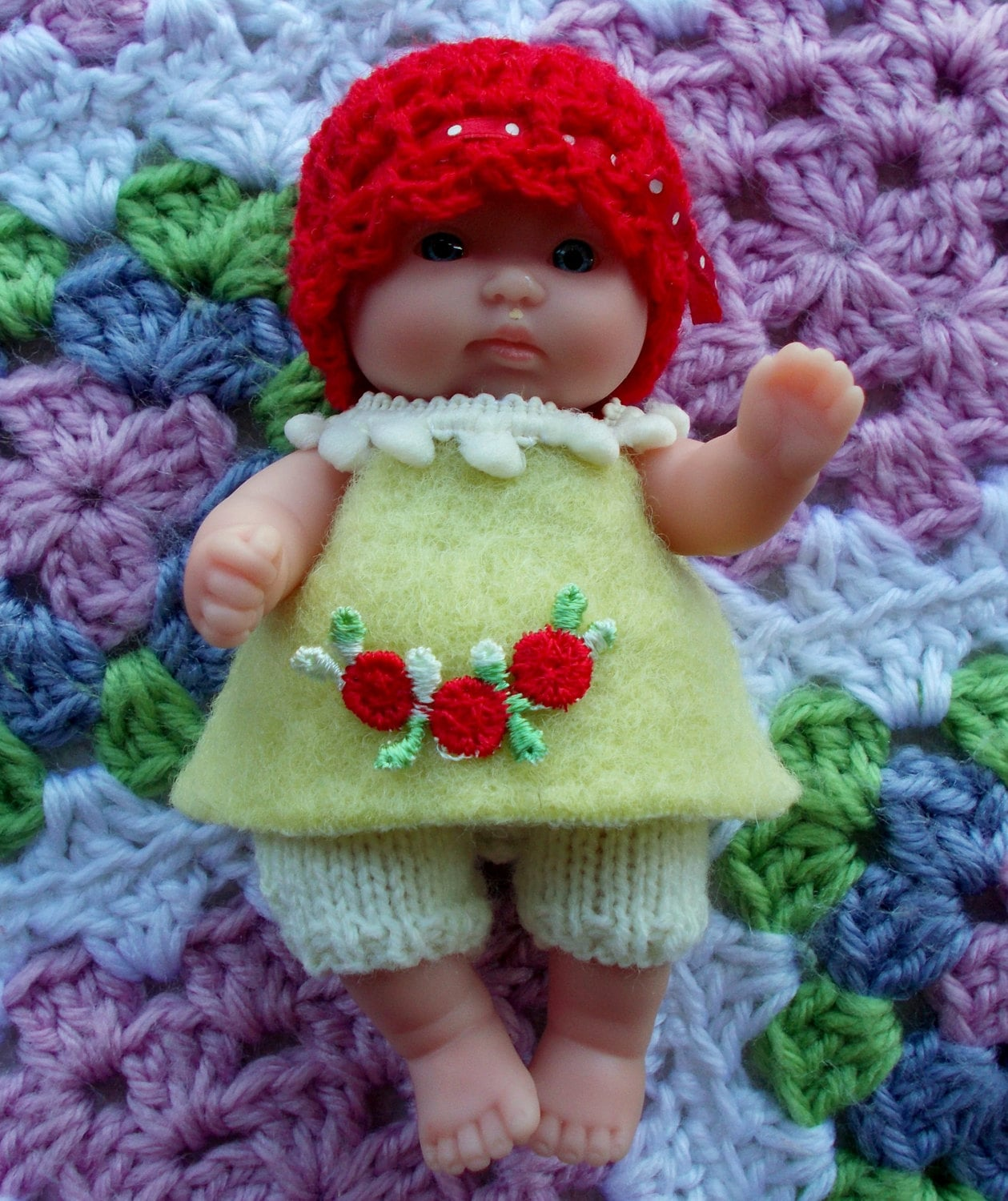 Knitted Dolls Clothes 5 inch Chubby Berenguer Dress Hat and Knit Shorts knit outfit