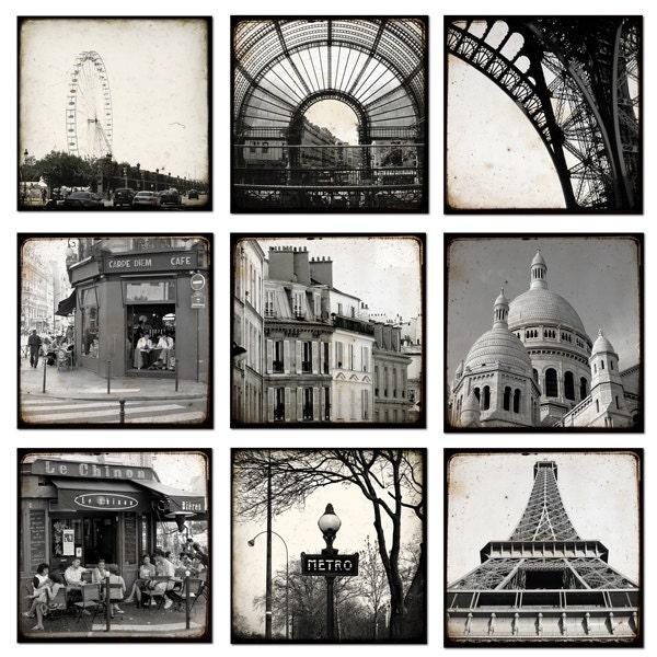 Набор из девяти 5 х 5 - TTV Черно-белый Париж - фотографии - художественной фотографией - Париж Декор - Париж Фото