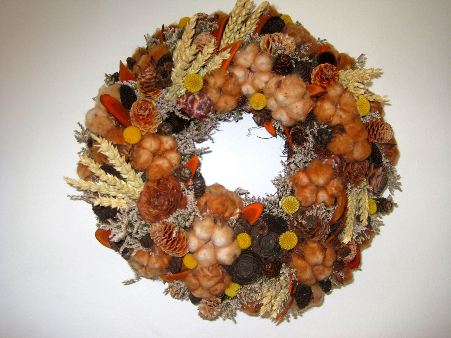 Dried & mixed floral-cotton wreath , Wall decor , table decor , Centerpiece ,floral decor ,wall wreath ,woodland decor - FlowerDecoupage
