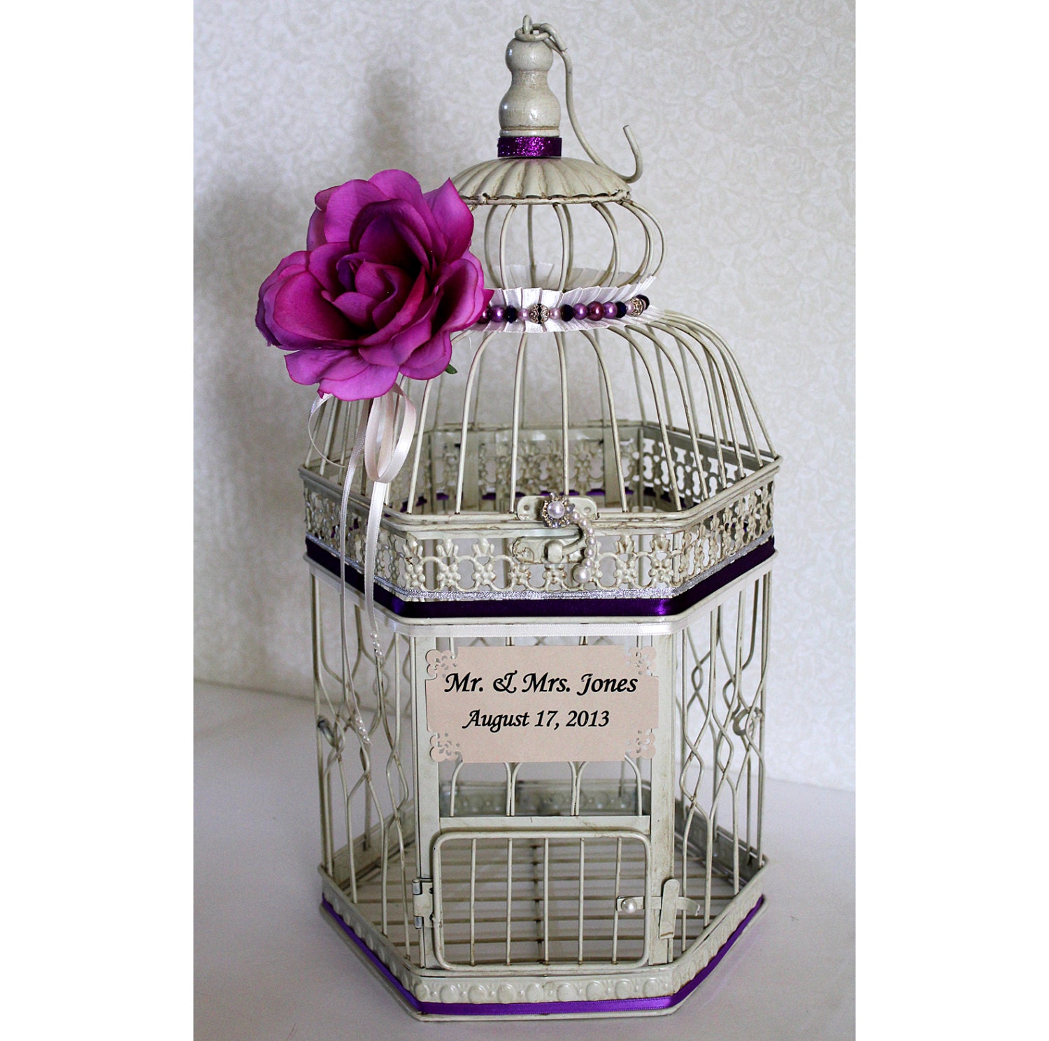 Birdcage Wedding Card Holder: Wedding Birdcage Card Holder Vintage Ivory Purple By