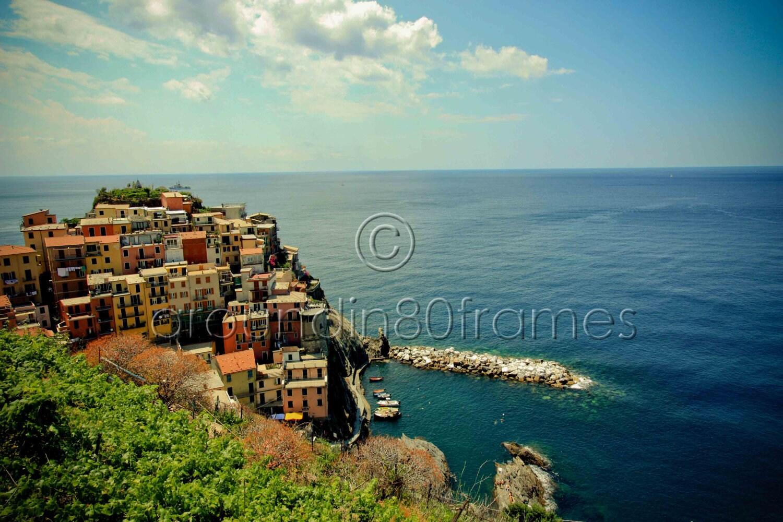 Cinque Terre Coastline, Manarola, Italy 8x10 Print- Travel Photography