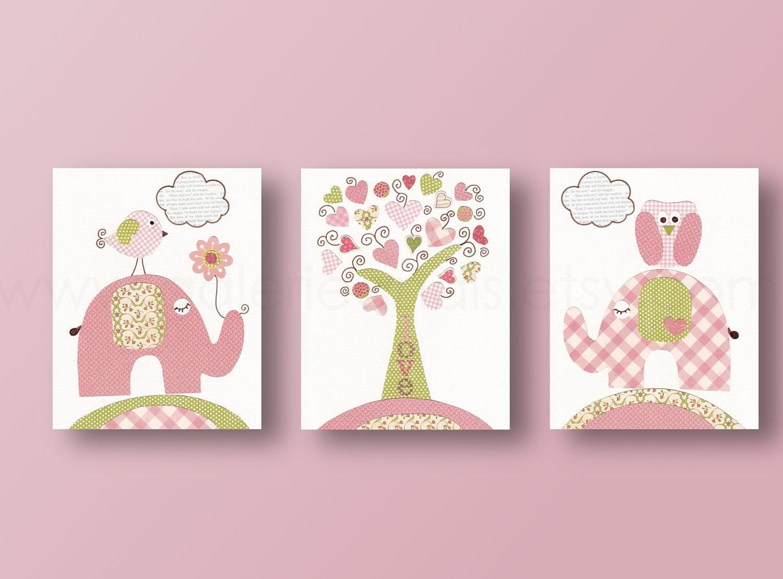 Vivaio arte vivaio arredamento scuola materna parete arte bambini parete arte decorazioni albero gufo vivaio elefante uccellino - Set di 3 stampe - albero dell'amore