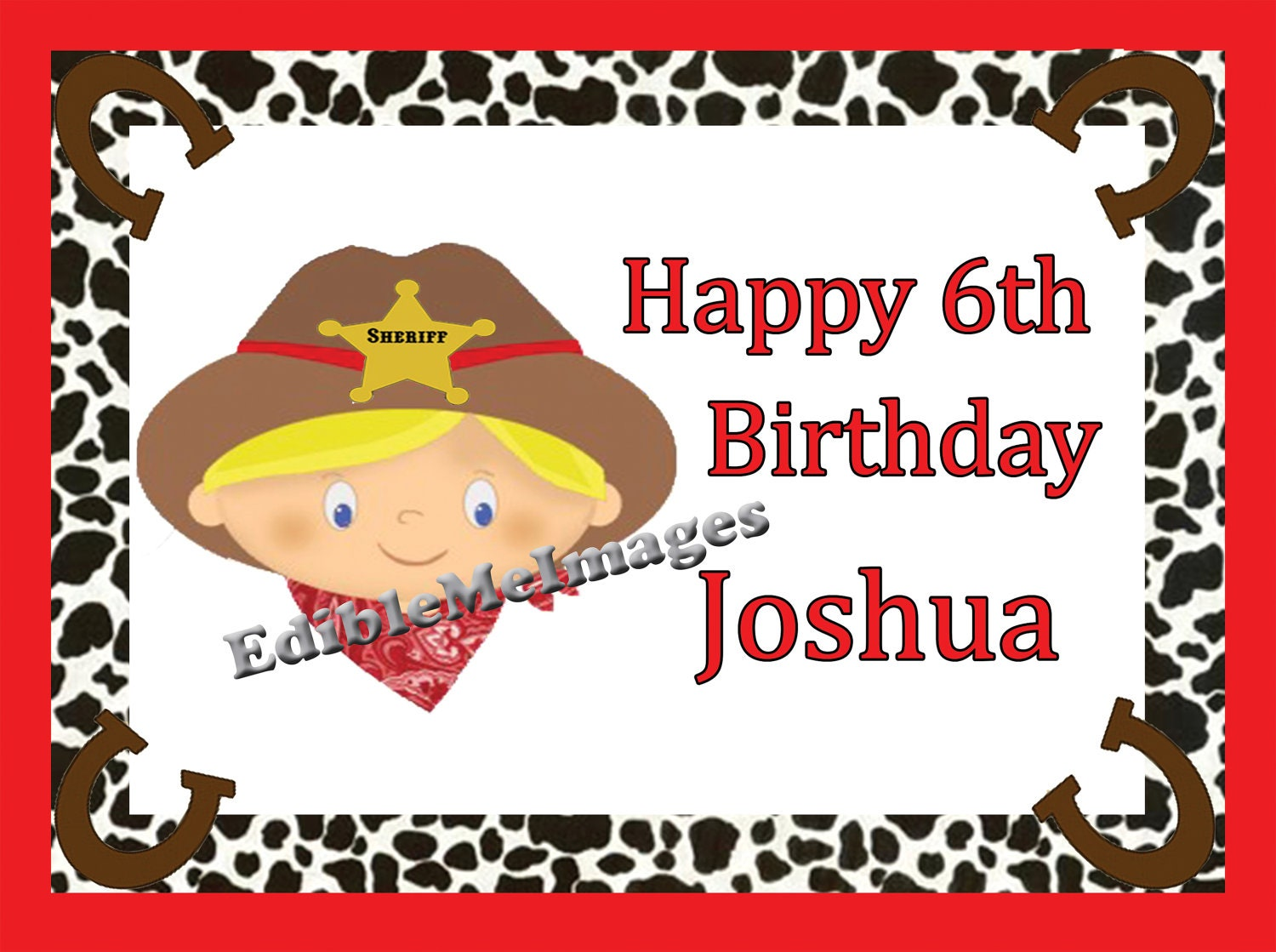 Edible Cake Images Rockingham : Pin Western Edible Image Cake Topper 7 Inch Square Cake on ...